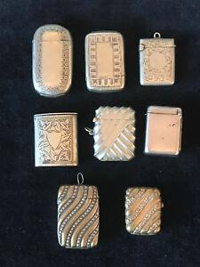 Job Lot 8 Vesta Cases 2 Hallmarked Solid Sterling Silver 64 grams Match Safe