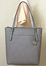 Michael Kors Women Voyager Pearl Grey Saffiano Leather Large Tote Shoulder Bag