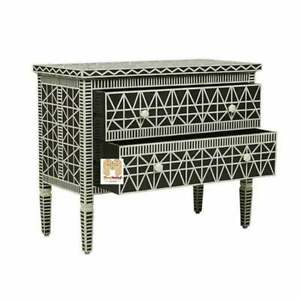 Handmade Bone Inlay Chest of 2 Drawers Beautifully Crafted in Black Blue Color
