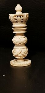 ANTIQUE HAND CARVED BOVINE CHESS PIECE Quite Intricate King? 7.7cm