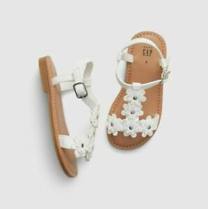Baby Gap Girl's White Faux Leather Floral Sandal Shoe NWT Various Sizes