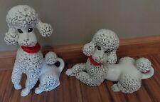 PAIR Atlantic Mold Poodles Figurines white gray red orange collars 1 w gems MCM