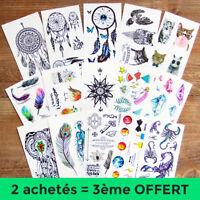 Tatouage Temporaire Faux Éphémère Tattoo 10.5cm x 6cm ► 2 achetés = 3 envoyés ◄