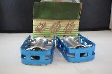 Wellgo pedal set 1/2 anodized blue Old school Bmx Vintage aluminium NOS 1980s