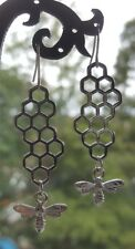 QUEEN BUMBLE BEE HONEYCOMB EARRINGS BEEHIVE FARM ROCKABILLY PUNK ROCK DERBY