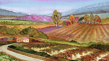 Napa Valley Stone Bridge in the Winery Vineyard Print - Wine Country Watercolor