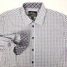 Jhane Barnes Mens Button Front Slim Fit Shirt XL Purple Gray Plaid Flip Cuff