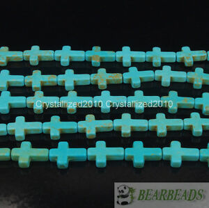 """Blue White Howlite Turquoise Gemstone Cross Spacer Loose Beads 12mm x 16mm 16"""""""
