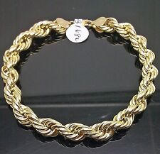 "10K Yellow Gold 1 Rope Bracelet 8mm, 8"" Long, Miami Cuban, Franco, Link"