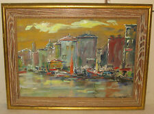 STEFAN CONEYE PARIS SCHOOL MID CENTURY CITY PORT BOATS PAINTING -LISTED AUSTRIAN