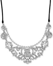 BETSEY JOHNSON 'Stone & Pearl' Pave Crystal Silver-Tone Frontal Necklace  $78
