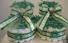 green frogs Baby Booties Diaper Cakes