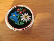 More details for vintage round musical box flowers reuge swiss musical movement  plays edelweiss