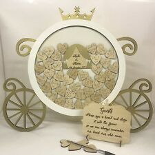 Disney themed Cinderella pumpkin carriage white Gold Wedding drop box 47 hearts