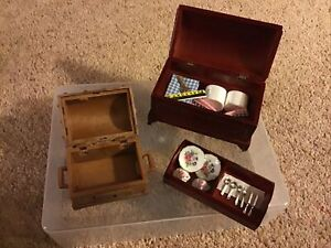 Miniature Chests One Containing China Cutlery Fabric See Photos