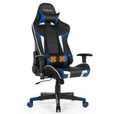 Goplus Massage Gaming Chair Reclining Swivel Racing Office Chair w/Lumbar Suppor