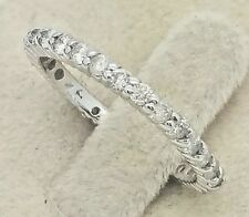 Women's 1 Ct Ctw Eternity Genuine Diamond Solid 14K White Gold Wedding Ring Band
