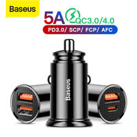 Baseus 30W QC USB Car Charger PD Type-C Adapter Fast Charging for Samsung iPhone