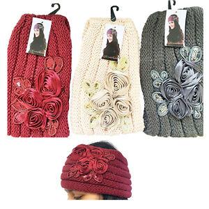 Ladies Girls Headband Knitted  Floral Winter Ear Warmer Turban Hairband UK