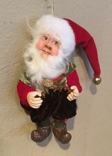 "Katherine's Collection Wayne Kleski 7"" Christmas Elf Gnome Doll Ornament (A)"