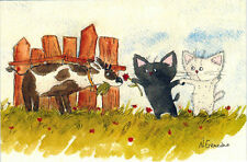 CATS WERE WALKING AND DECIDED TO GIVE A FLOWER TO THE GOAT Modern Russian card