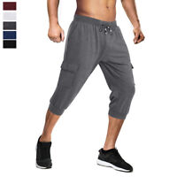 Mens Casual 3/4 Capri Shorts Jogger Running Sport Gym Fitness Bodybuilding Pants