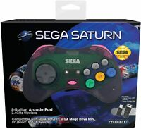 Retro-Bit Official SEGA Saturn 2.4Ghz Wireless Arcade Pad for MEGA DRIVE MINI