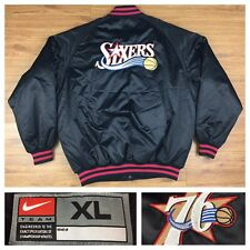 NEW Nike NBA Philadelphia 76ers Phila Sixers Satin Coat Jacket Allen Iverson XL