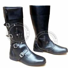 Medieval Leather Shoe black High Quality 4 Buckle Vintage Role Play Boots Larp