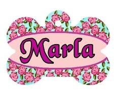 ROSES PET ID TAG Personalized Any Name Dog Tag Printed on 2 Sides