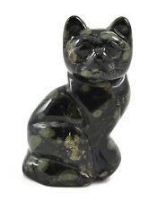 Sitting Cat Green Kambaba Jasper Hand Carved Gemstone Animal Totem Statue Stone