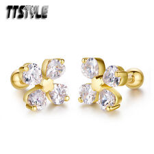TTstyle Gold Surgical Steel Heart Flower Cartilage Tragus Earrings A Pair NEW