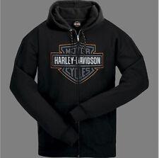 Harley-Davidson Men's Black Bar & Shield Full Zip Sweatshirt Hoodie R003415