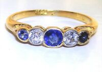 EARLY 20th CENTURY 18CT YELLOW GOLD  BLUE & WHITE SAPPHIRE ETERNITY RING K 1/2