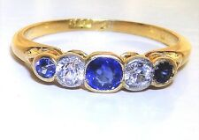 EARLY 20th CENTURY 18CT YELLOW GOLD  SAPPHIRE & DIAMOND ETERNITY RING K 1/2