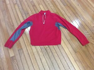 Champion Womens 3/4 Zip Athletic Pullover Long Sleeve Red High Neck Size L
