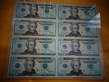 8 UNCUT SHEET $20, $20 x 8 Legal USA -20 DOLLAR BILLS, Real Currency Note RARE