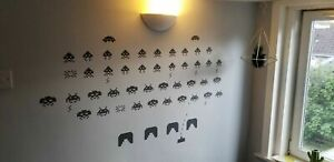 Retro Space Game Vinyl window wall self adhesive decal sticker invaders 80's