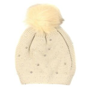 NEW Women rhinestones Winter Cable Knit Beanie Hat Large Pom-Pom Warm Fur Lined
