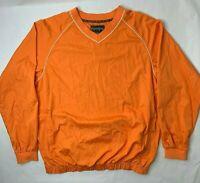 Footjoy Mens Large Pull Over Windbreaker Golf Jacket Orange Long Sleeve V Neck