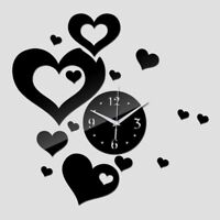 Acrylic Wall Clock Quartz Watch 3D DIY Home Art Decoration Heart Designed Clocks