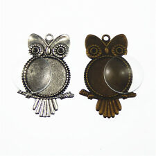 4 sets Round 25mm Clear Glass Cameo Bezel Base Cute Owl Charm Pendant #53491