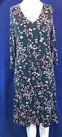 LAURA ASHLEY Black Floral Print 3/4 Sleeve Knee Length Lined Dress.Size UK 10