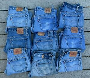 9 Lot 1980s 1990s VTG LEVI'S 501 Made In USA Button Fly Denim Blue Jeans 34x28