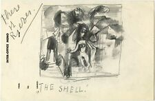 ABSTRACT COMPOSITION IN THE MANNER OF PICASSO ORIGINAL VINTAGE PENCIL DRAWING