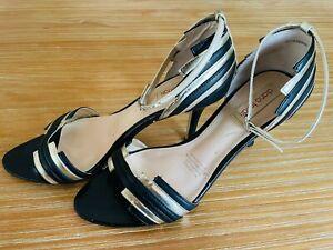 DIANA FERRARI Size 8 Heels Black & Gold Leather Strappy - Ankle Straps Art Deco
