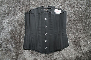 """Puimond black steel bone cotton coutil underbust corset 22"""" made in USA"""