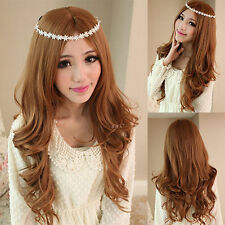 100% Real Hair! Womens Girls Long Light Brown Wavy Wig Cosplay Party Wig