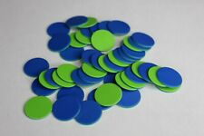 50 x TWO SIDED COLOUR LARGE ROUND PLASTIC COUNTER CHIPS BLUE GREEN FREE UK POST