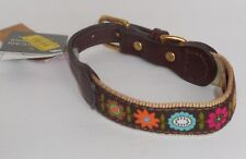 "Auburn Leathercrafters American Traditions Brown Flowers Dog Pet Collar 11""-14"""
